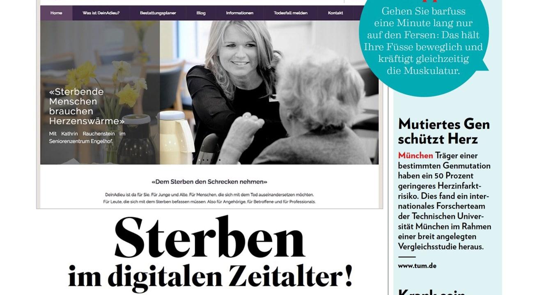 Screenshot des Beitrags über deinadieu.ch in der Schweizer Illustrierten vom 27. Mai 2016