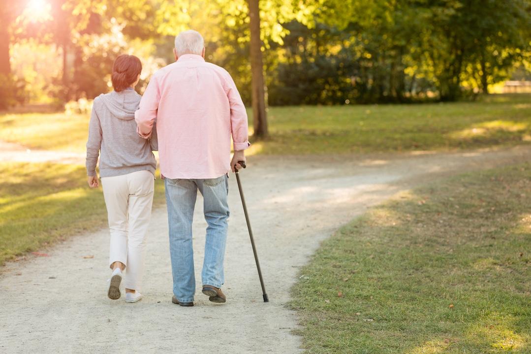 Aälteres Ehepaar macht einen Spaziergang im Park.