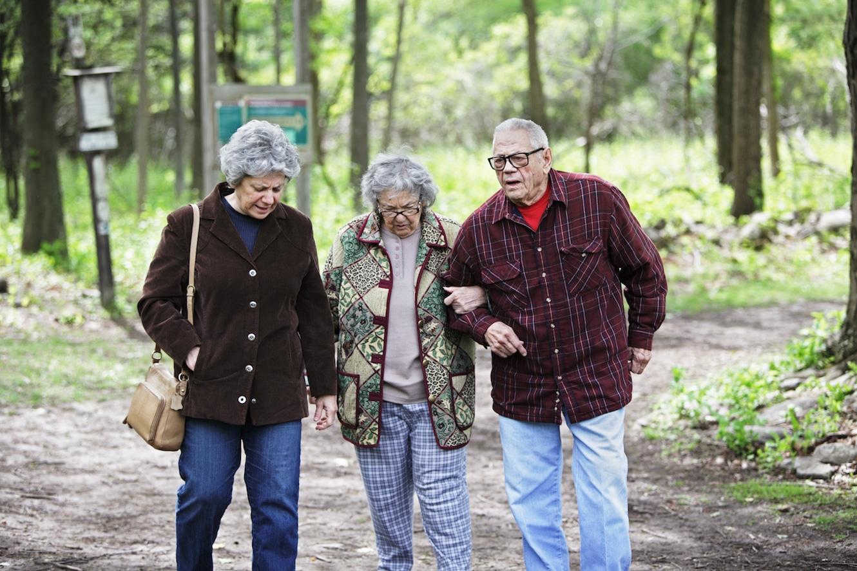 Vorsorgeauftrag: Älteres Paar spaziert im Wald.